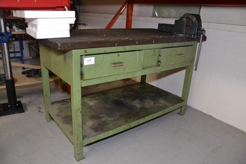 Onwijs Werkbank, staal, houten werkblad voorzien van bankschroef en 2 YD-59