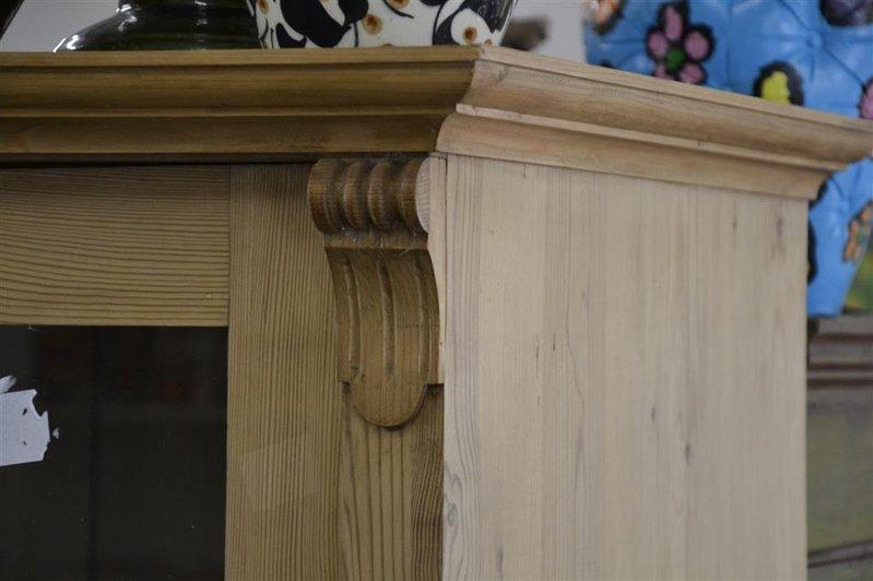 Kast Voor Glazen : Kast grenen met 3x plank en la 2 glazen deuren afm. ca. 181x114