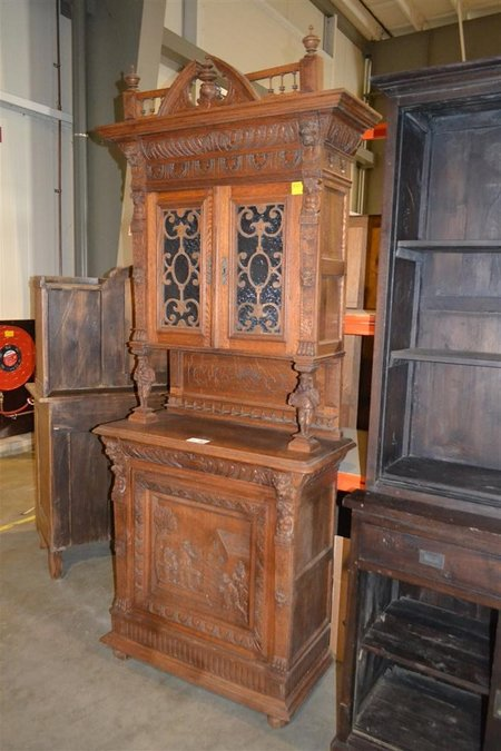 Antieke Franse Kast Met Houtsnijwerk Wo Muziekkanten Hxb Ca 230x100 Cm