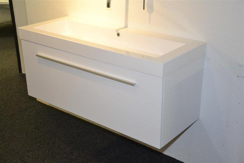 Badmeubel hoogglans wit wastafel polystone zonder kraangat